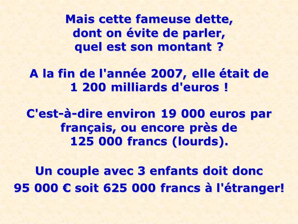 A la fin de l année 2007, elle était de 1 200 milliards d euros !