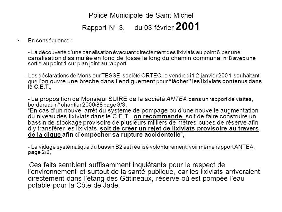 Police Municipale de Saint Michel Rapport N° 3, du 03 février 2001