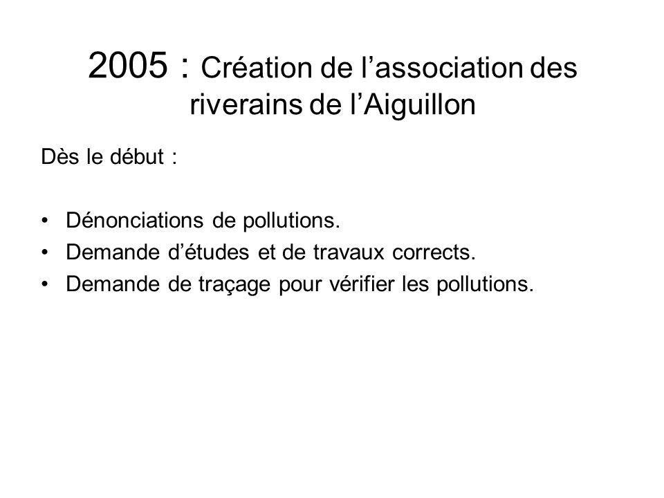 2005 : Création de l'association des riverains de l'Aiguillon