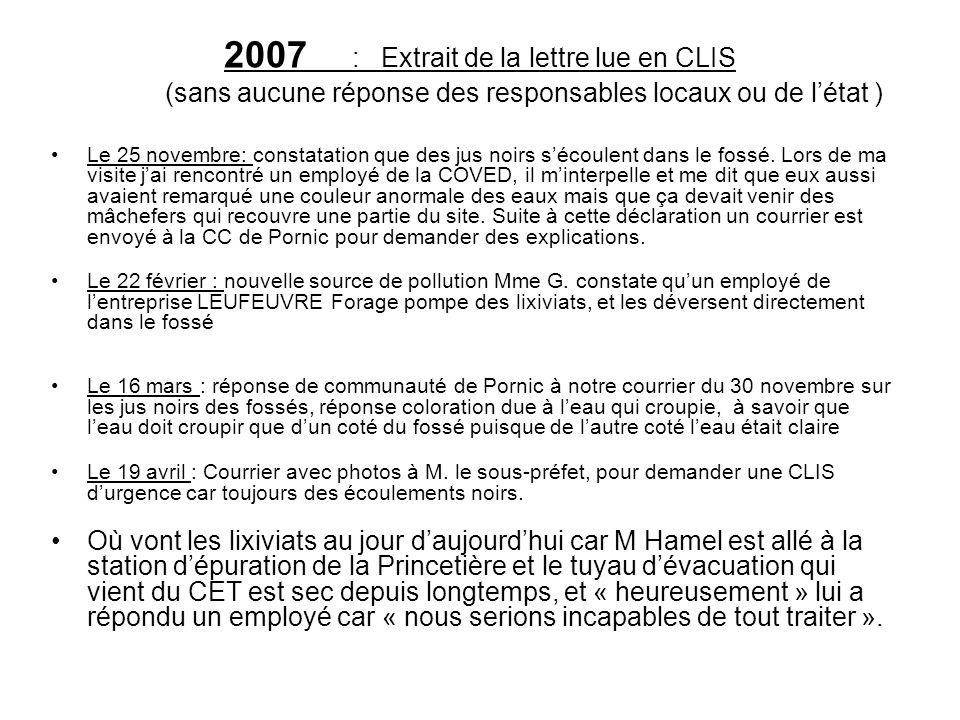 2007 : Extrait de la lettre lue en CLIS (sans aucune réponse des responsables locaux ou de l'état )