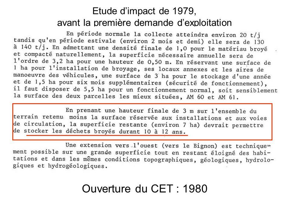Etude d'impact de 1979, avant la première demande d'exploitation