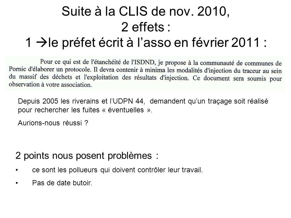 Suite à la CLIS de nov. 2010, 2 effets : 1 le préfet écrit à l'asso en février 2011 :
