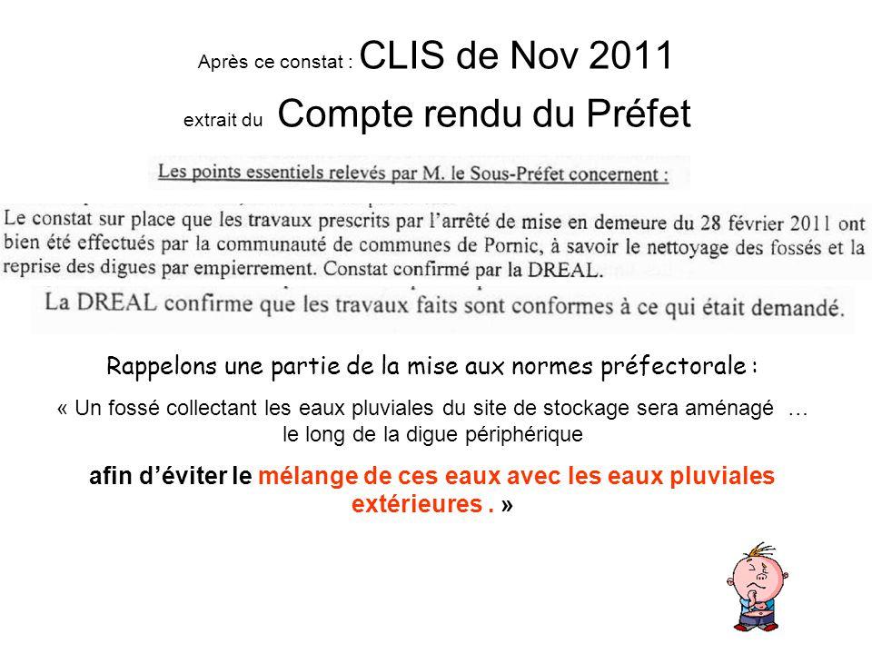 Après ce constat : CLIS de Nov 2011 extrait du Compte rendu du Préfet