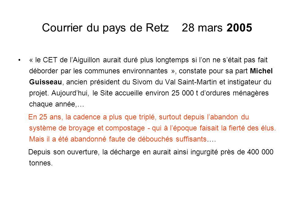 Courrier du pays de Retz 28 mars 2005