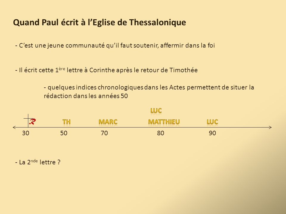 Quand Paul écrit à l'Eglise de Thessalonique
