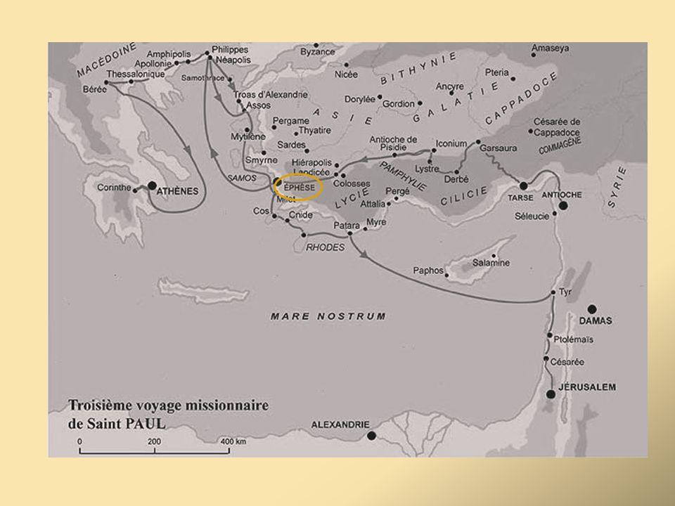 Après être resté quelques temps à Antioche, son camp de base, il repart vers la Galatie, traverse le pays et s'installe à Ephèse quelque temps (3 ans ).