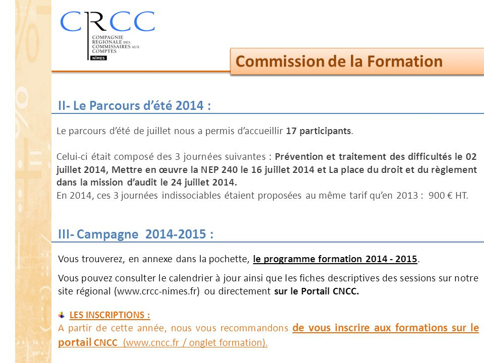 Commission de la Formation Commission de la Formation