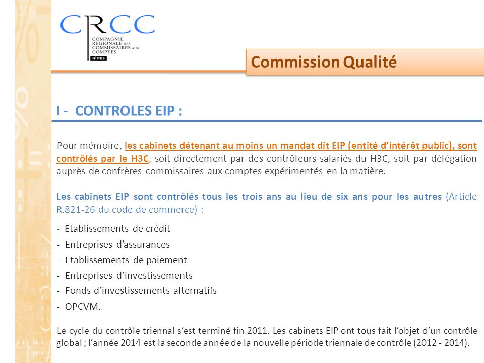 Commission Qualité I - CONTROLES EIP :