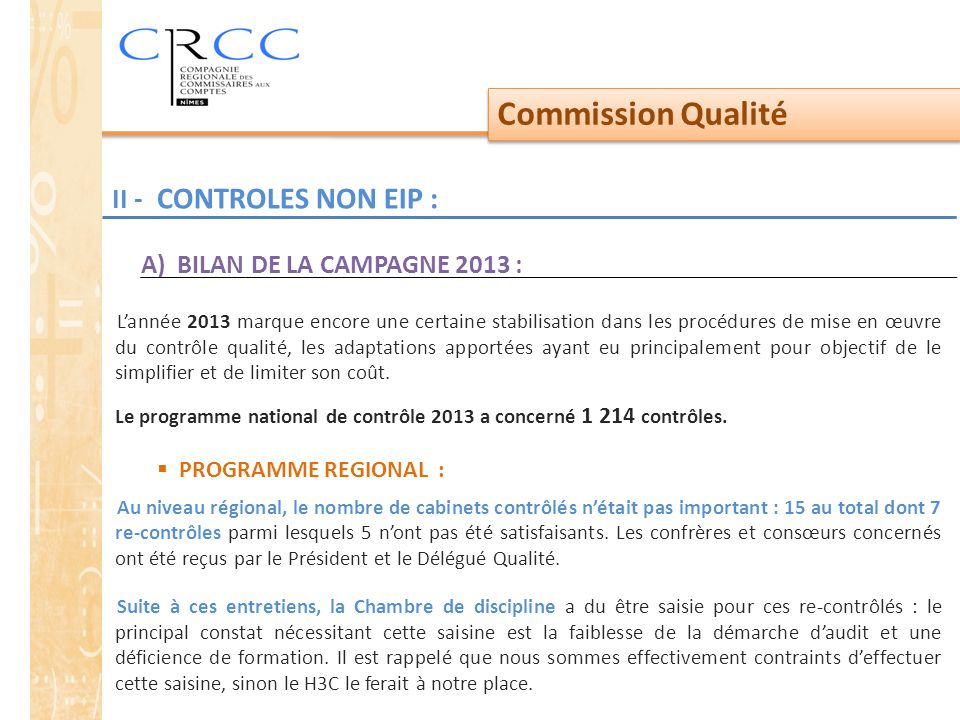 Commission Qualité II - CONTROLES NON EIP :