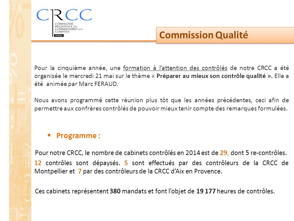 Commission Qualité Programme :
