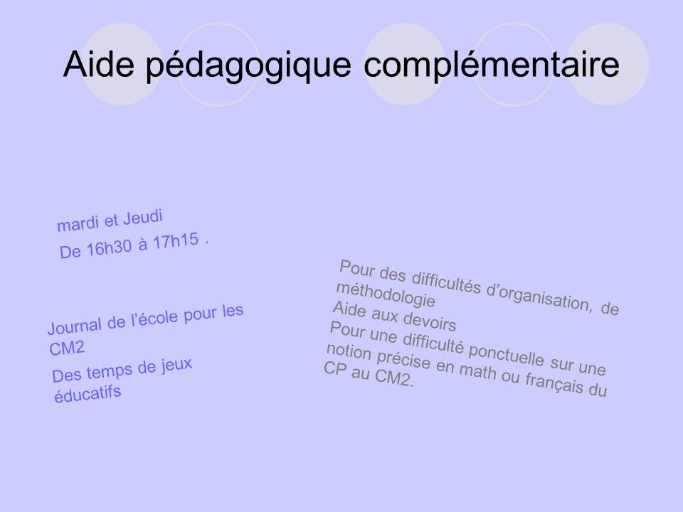 Aide pédagogique complémentaire