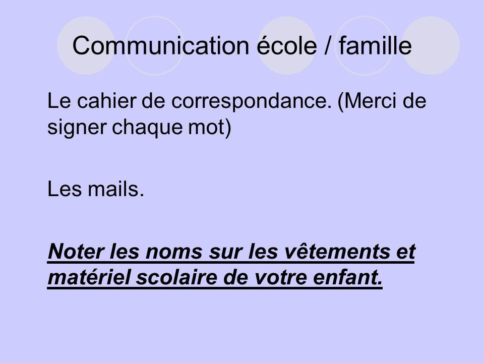 Communication école / famille