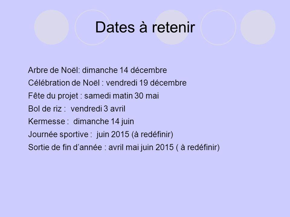 Dates à retenir Arbre de Noël: dimanche 14 décembre