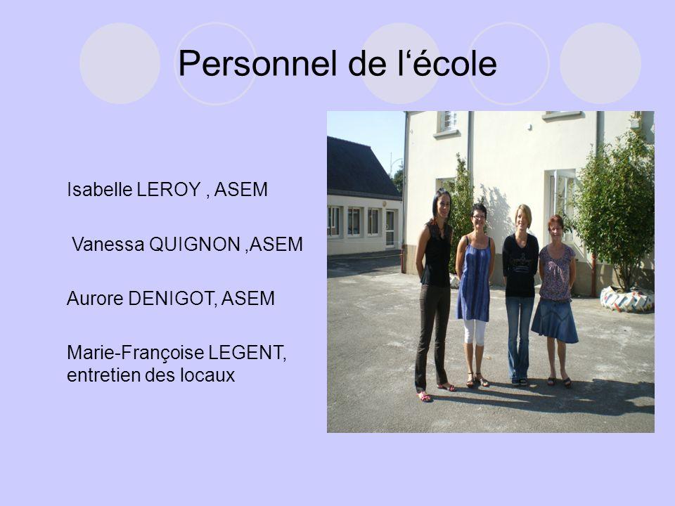 Personnel de l'école Isabelle LEROY , ASEM Vanessa QUIGNON ,ASEM