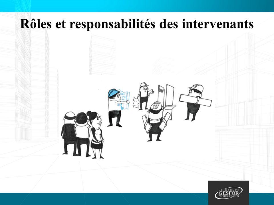 Rôles et responsabilités des intervenants