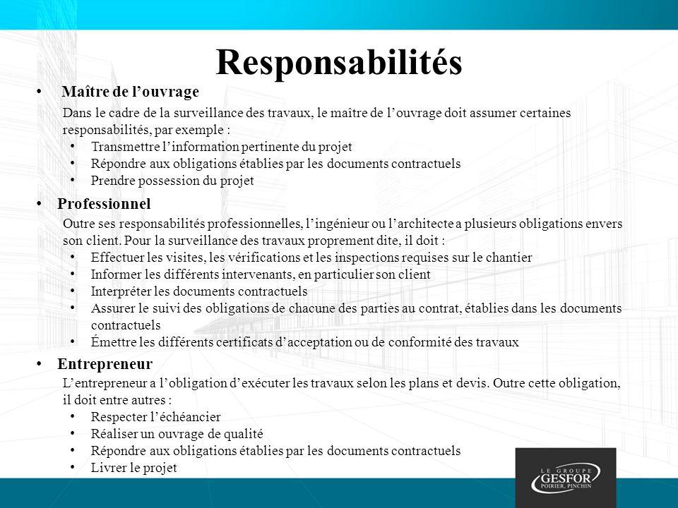 Responsabilités Maître de l'ouvrage Professionnel Entrepreneur