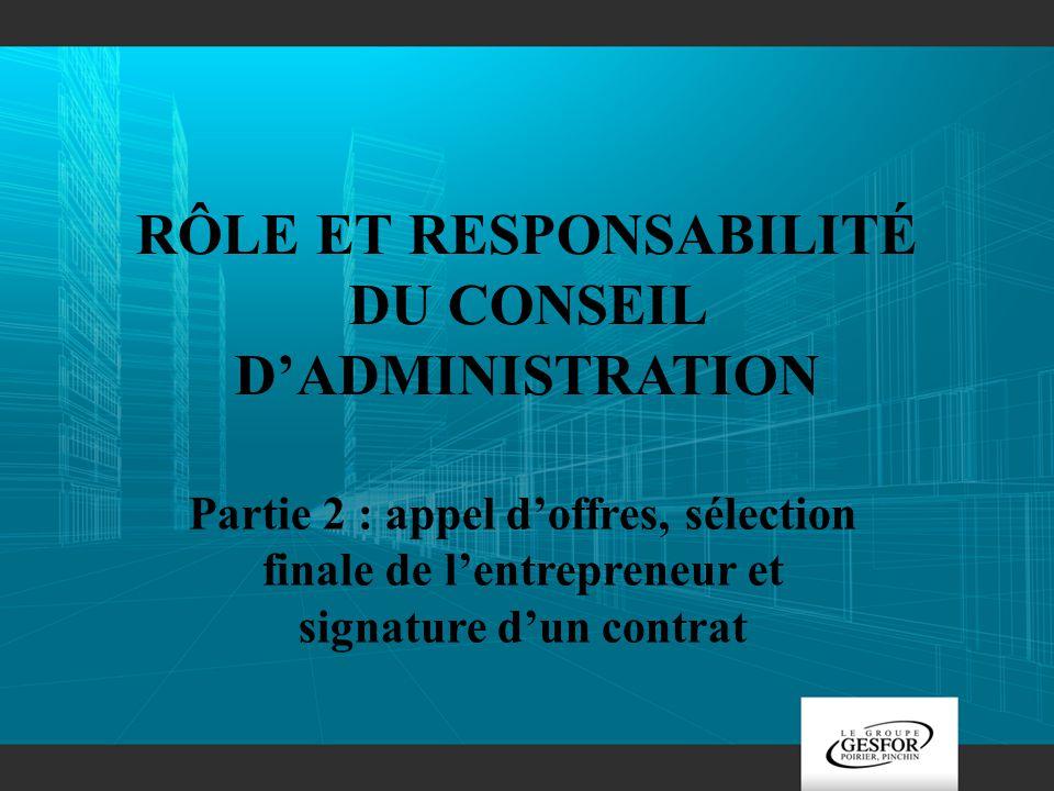 Rôle et responsabilité du conseil d'administration