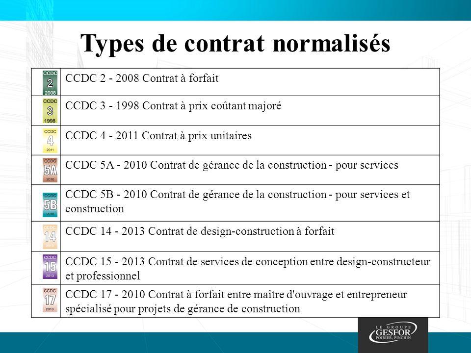 Types de contrat normalisés