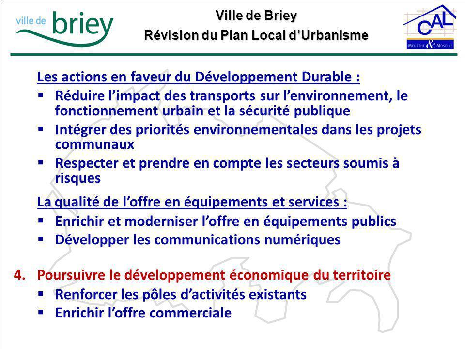 Les actions en faveur du Développement Durable :