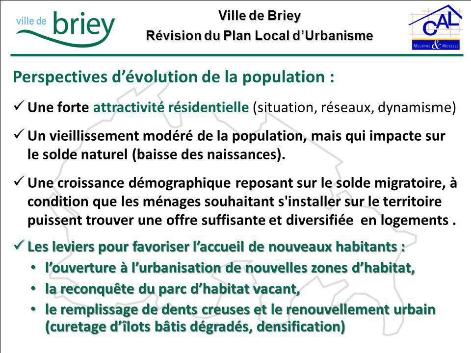 Perspectives d'évolution de la population :
