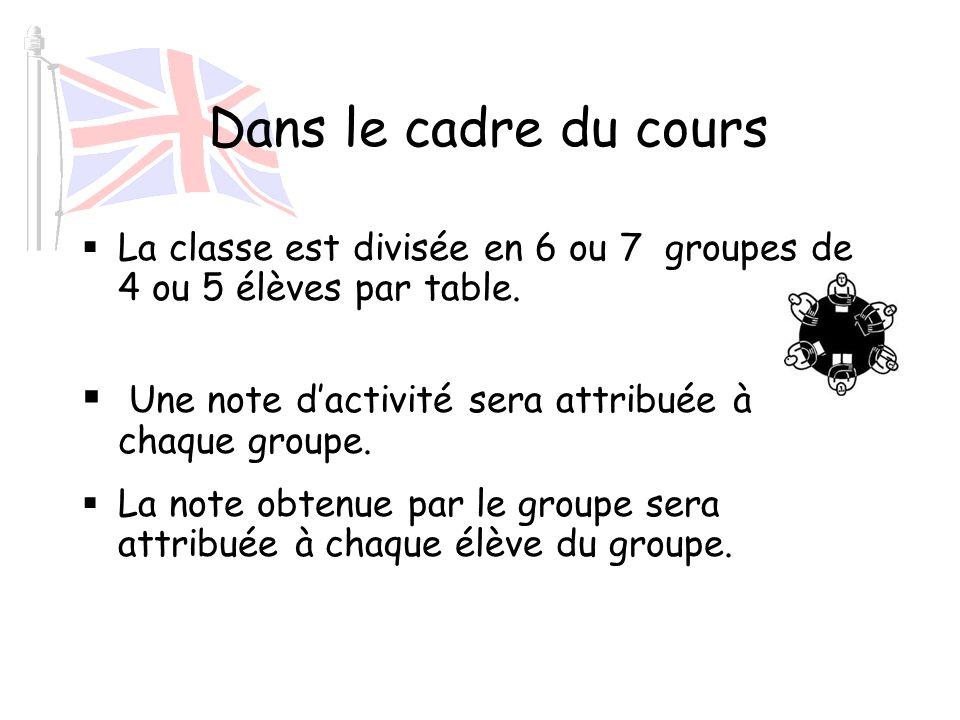 Dans le cadre du cours La classe est divisée en 6 ou 7 groupes de 4 ou 5 élèves par table. Une note d'activité sera attribuée à chaque groupe.