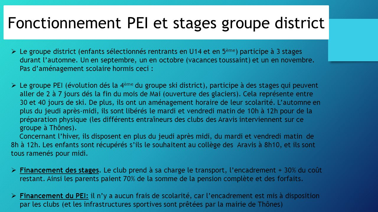 Fonctionnement PEI et stages groupe district