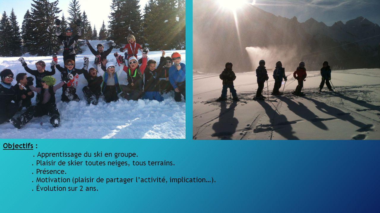 Objectifs : . Apprentissage du ski en groupe. . Plaisir de skier toutes neiges, tous terrains. . Présence.