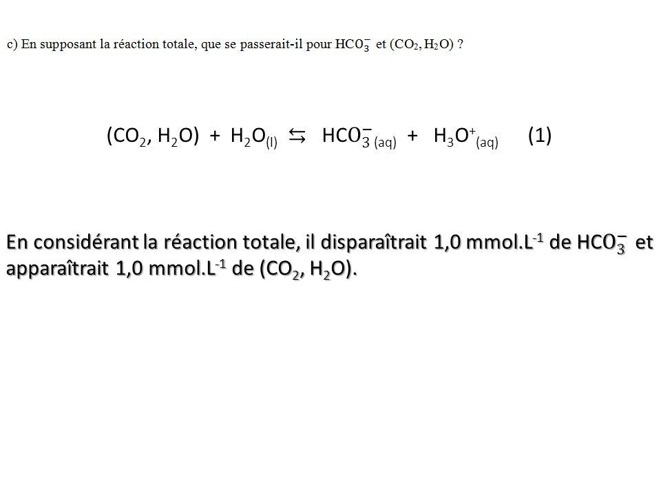 (CO2, H2O) + H2O(l) ⇆ HC O 3 − (aq) + H3O+(aq) (1)