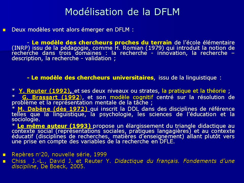 Modélisation de la DFLM