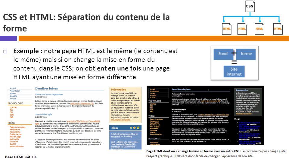 CSS et HTML: Séparation du contenu de la forme