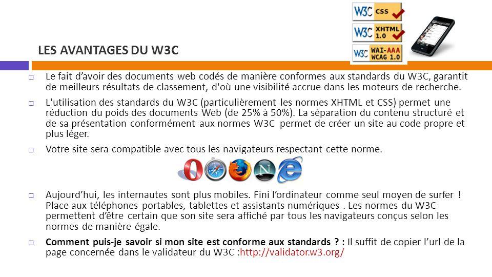 Les avantages du w3c