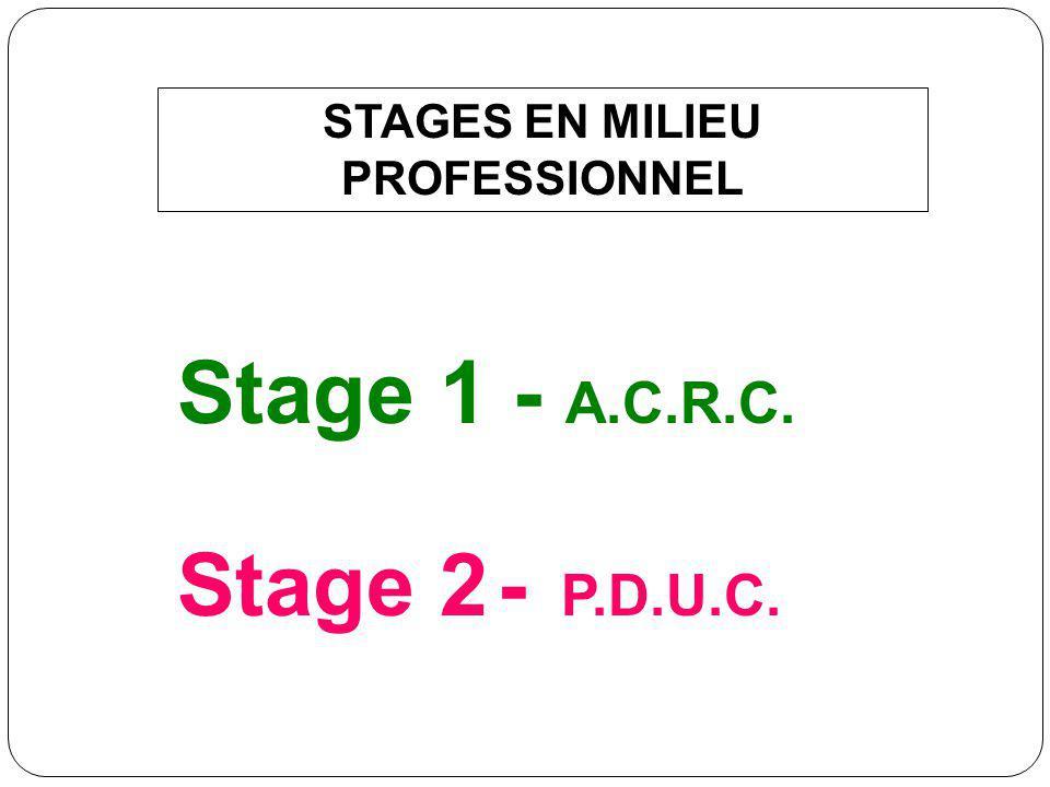 STAGES EN MILIEU PROFESSIONNEL