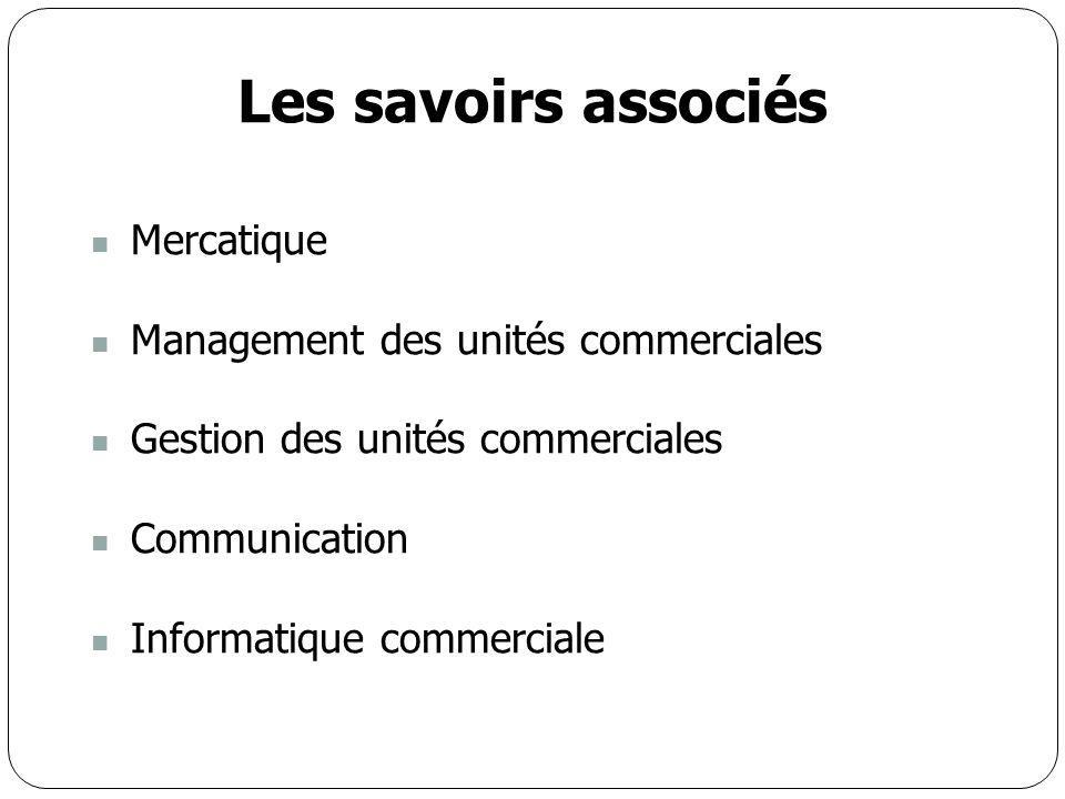 Les savoirs associés Mercatique Management des unités commerciales