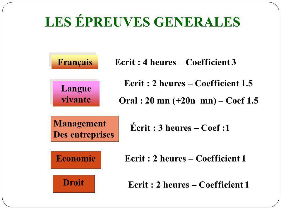 LES ÉPREUVES GENERALES Ecrit : 2 heures – Coefficient 1.5