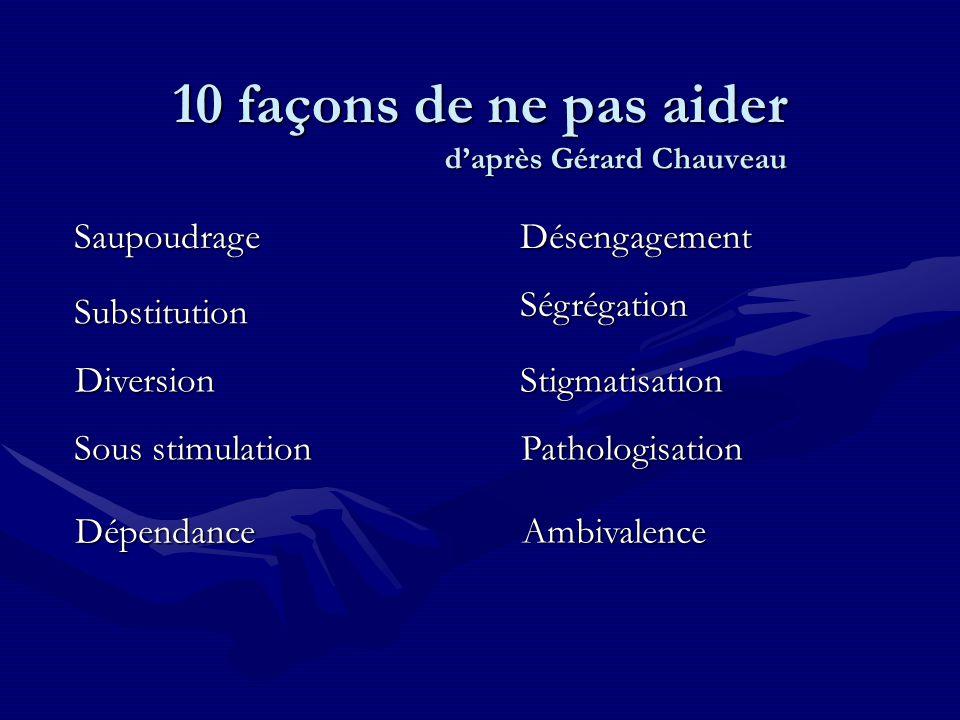 10 façons de ne pas aider d'après Gérard Chauveau