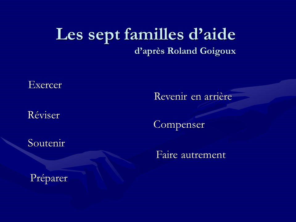 Les sept familles d'aide d'après Roland Goigoux