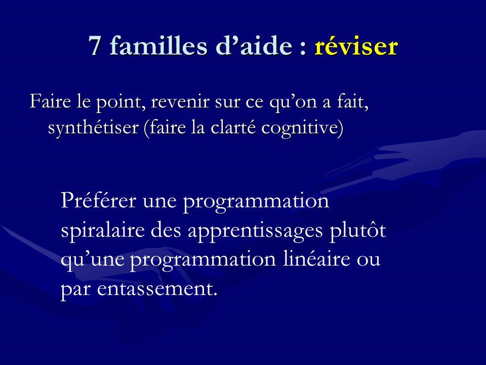 7 familles d'aide : réviser