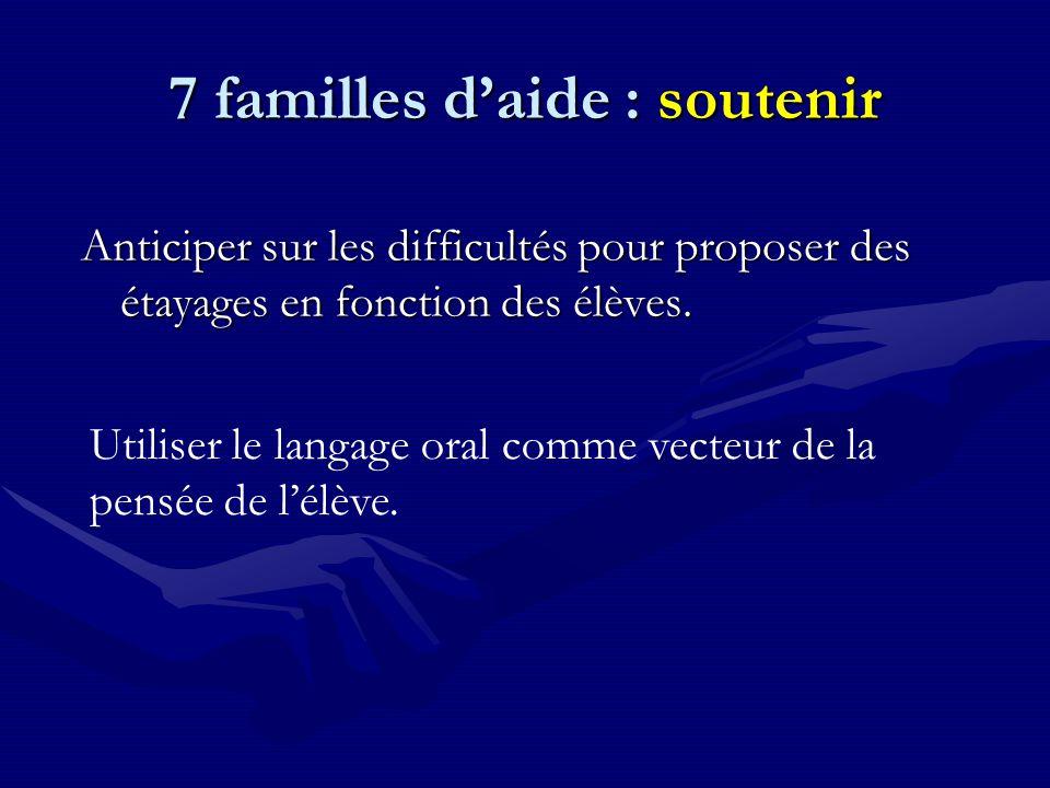 7 familles d'aide : soutenir