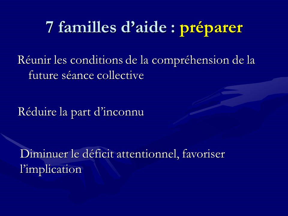 7 familles d'aide : préparer