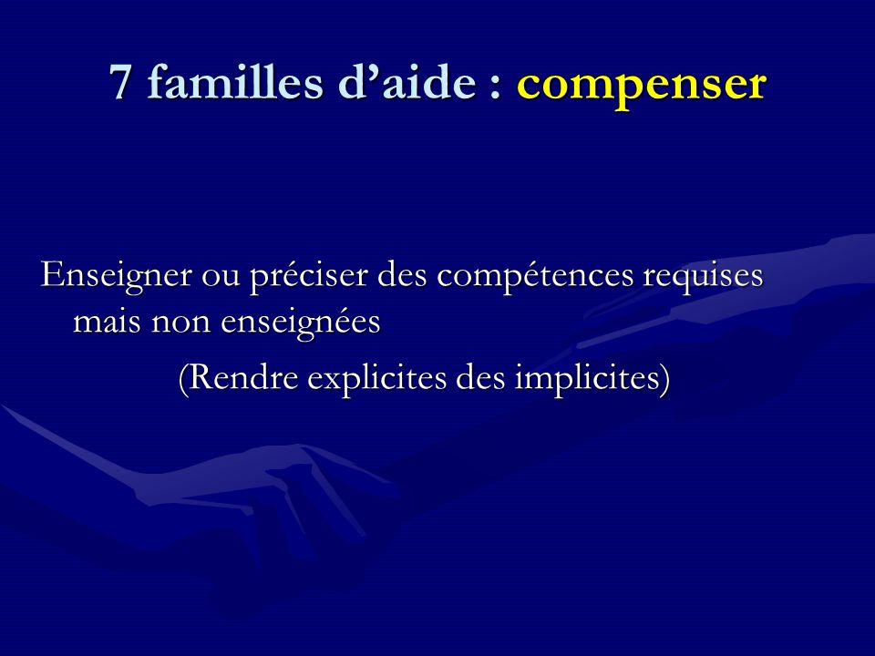 7 familles d'aide : compenser