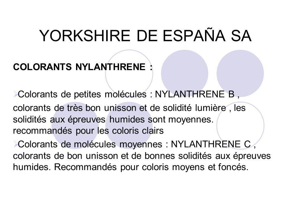 YORKSHIRE DE ESPAÑA SA COLORANTS NYLANTHRENE :