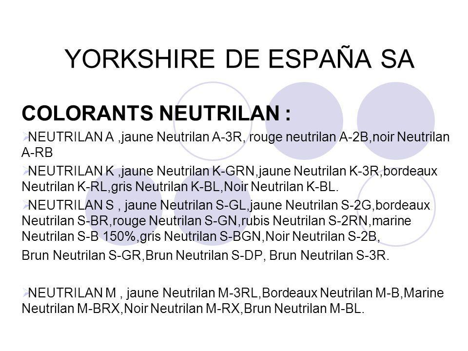 YORKSHIRE DE ESPAÑA SA COLORANTS NEUTRILAN :