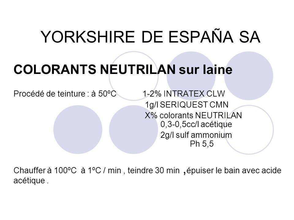 YORKSHIRE DE ESPAÑA SA COLORANTS NEUTRILAN sur laine