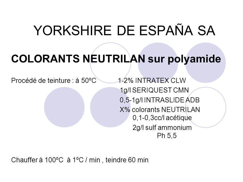 YORKSHIRE DE ESPAÑA SA COLORANTS NEUTRILAN sur polyamide