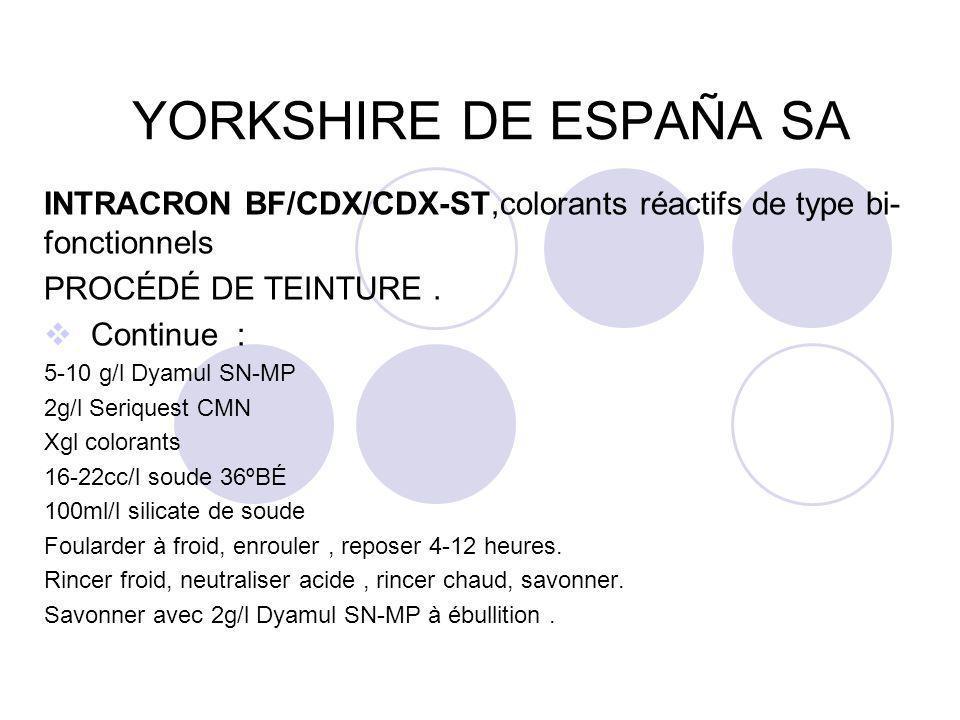 YORKSHIRE DE ESPAÑA SA INTRACRON BF/CDX/CDX-ST,colorants réactifs de type bi-fonctionnels. PROCÉDÉ DE TEINTURE .