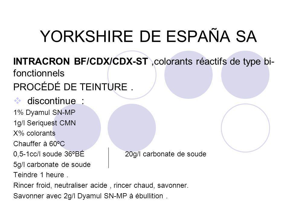 YORKSHIRE DE ESPAÑA SA INTRACRON BF/CDX/CDX-ST ,colorants réactifs de type bi-fonctionnels. PROCÉDÉ DE TEINTURE .