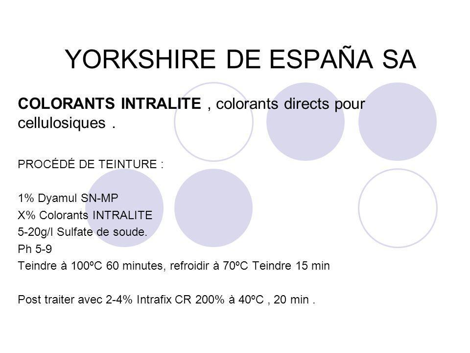 YORKSHIRE DE ESPAÑA SA COLORANTS INTRALITE , colorants directs pour cellulosiques . PROCÉDÉ DE TEINTURE :