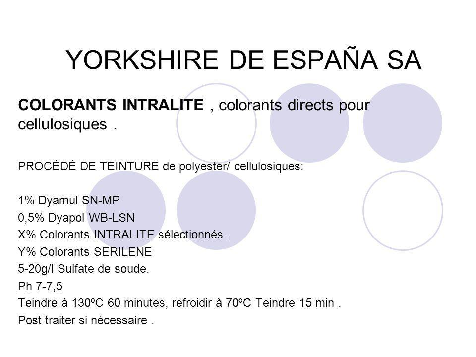 YORKSHIRE DE ESPAÑA SA COLORANTS INTRALITE , colorants directs pour cellulosiques . PROCÉDÉ DE TEINTURE de polyester/ cellulosiques: