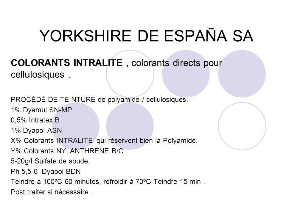 YORKSHIRE DE ESPAÑA SA COLORANTS INTRALITE , colorants directs pour cellulosiques . PROCÉDÉ DE TEINTURE de polyamide / cellulosiques: