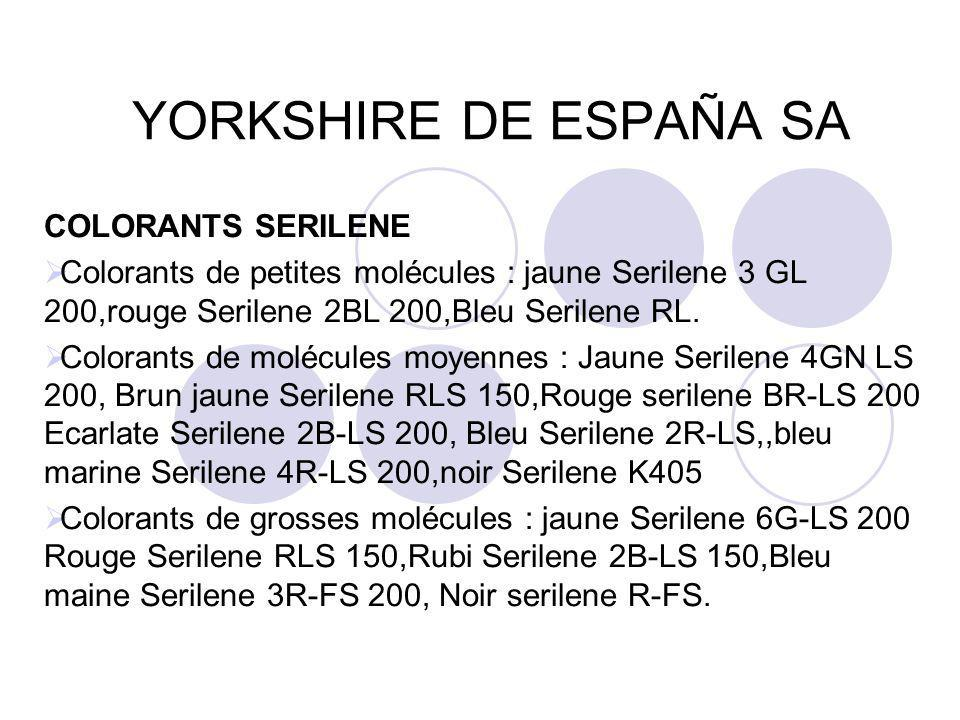 YORKSHIRE DE ESPAÑA SA COLORANTS SERILENE